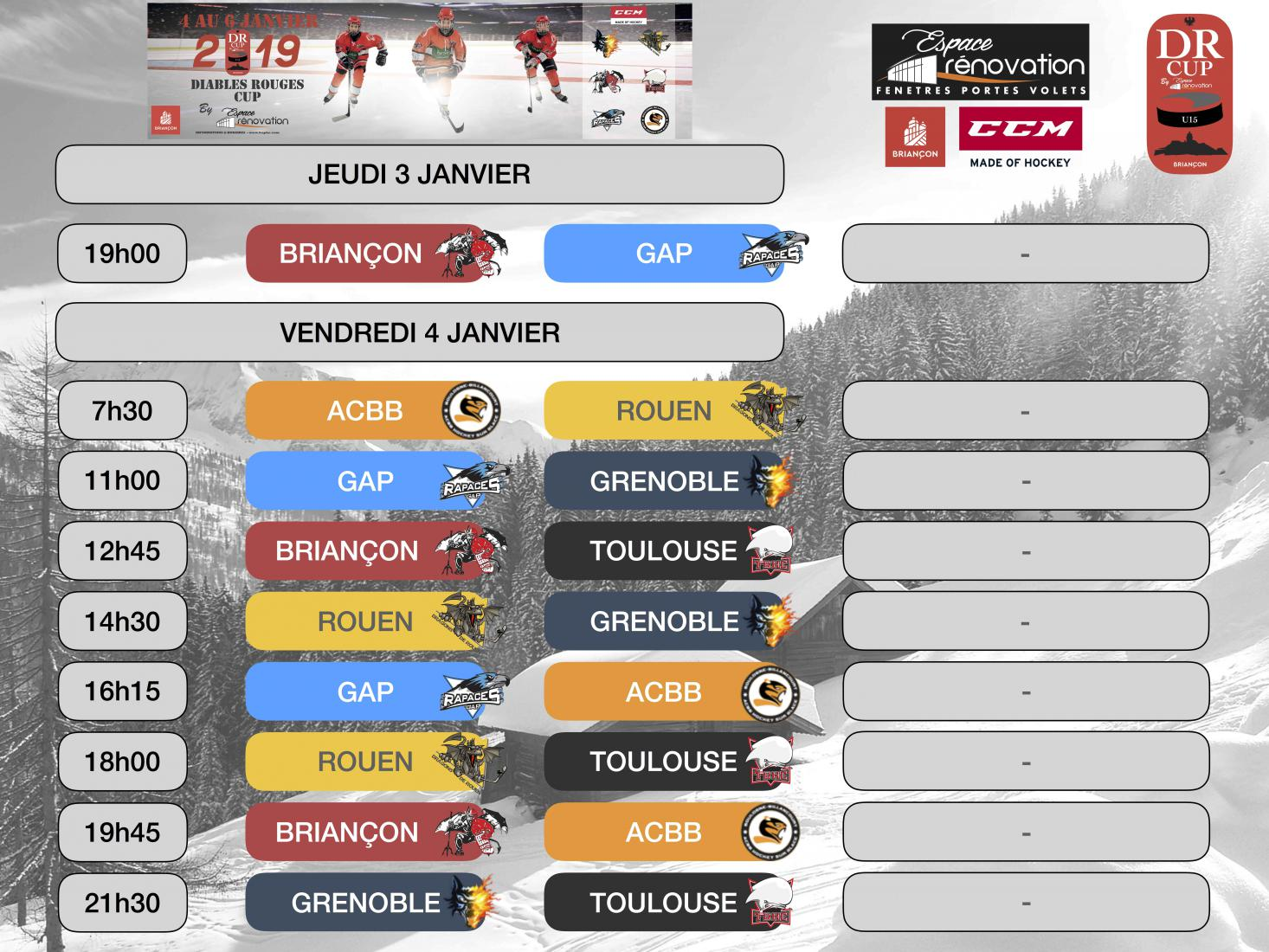 DR CUP U15 - Planning et Informations